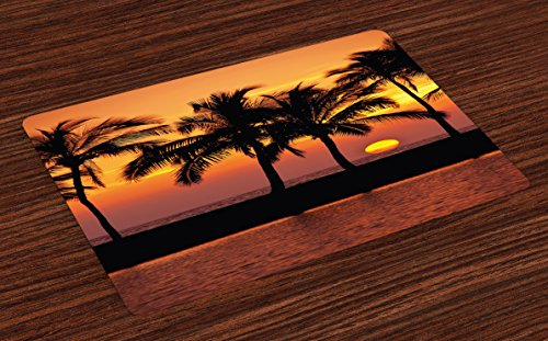 Tranquil Trees (Lunarable Palm Tree Place Mats Set of 4, Caribbean Horizon Dusk Time Romantic Peaceful Tranquil Coastal Charm Scenery, Washable Fabric Placemats for Dining Room Kitchen Table Decoration, Orange Black)