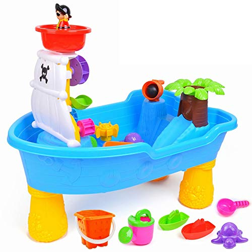 (Pirate Ship Design 20 Pieces Sand Castle Building Toy Kit Beach Toys Set Table With Chair For Kids Beach Pail Set With Molds Bucket Shovels Watering Role Play Pool Sandbox Toys Kit For Boys Girls Todd)