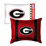 2pc NCAA Georgia Bulldogs Pillowcase and Pillow Sham Set College Team Logo Bedding Accessories