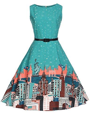 HUINI Vintage Kleid Blumen 50er 60er Retro Rockabilly Swing Kleider Geblümt  Cocktailkleid Ärmerllos Sommer Partykleider Gürtel 86ddcfa840