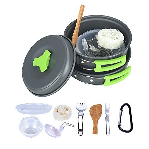 TTLIFE 13 Pcs Camping Cookware Mess Kit Backpacking Gear & Hiking Outdoors Bug Out Bag Stove Carabiner Canister Folding Spork Set Soup Spoon Wood Spatula Hook, Nylon Bag (Green) (Box Wood Stove)