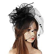 Felizhouse Tea Party Flower Veil Fascinator Hats Kentucky Derby Headpiece Wedding Church Bridal Cocktail Fancy Headband