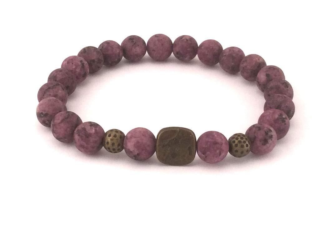 Pulsera de cuentas de ágata morada con perla tibetana y perla central para mujer