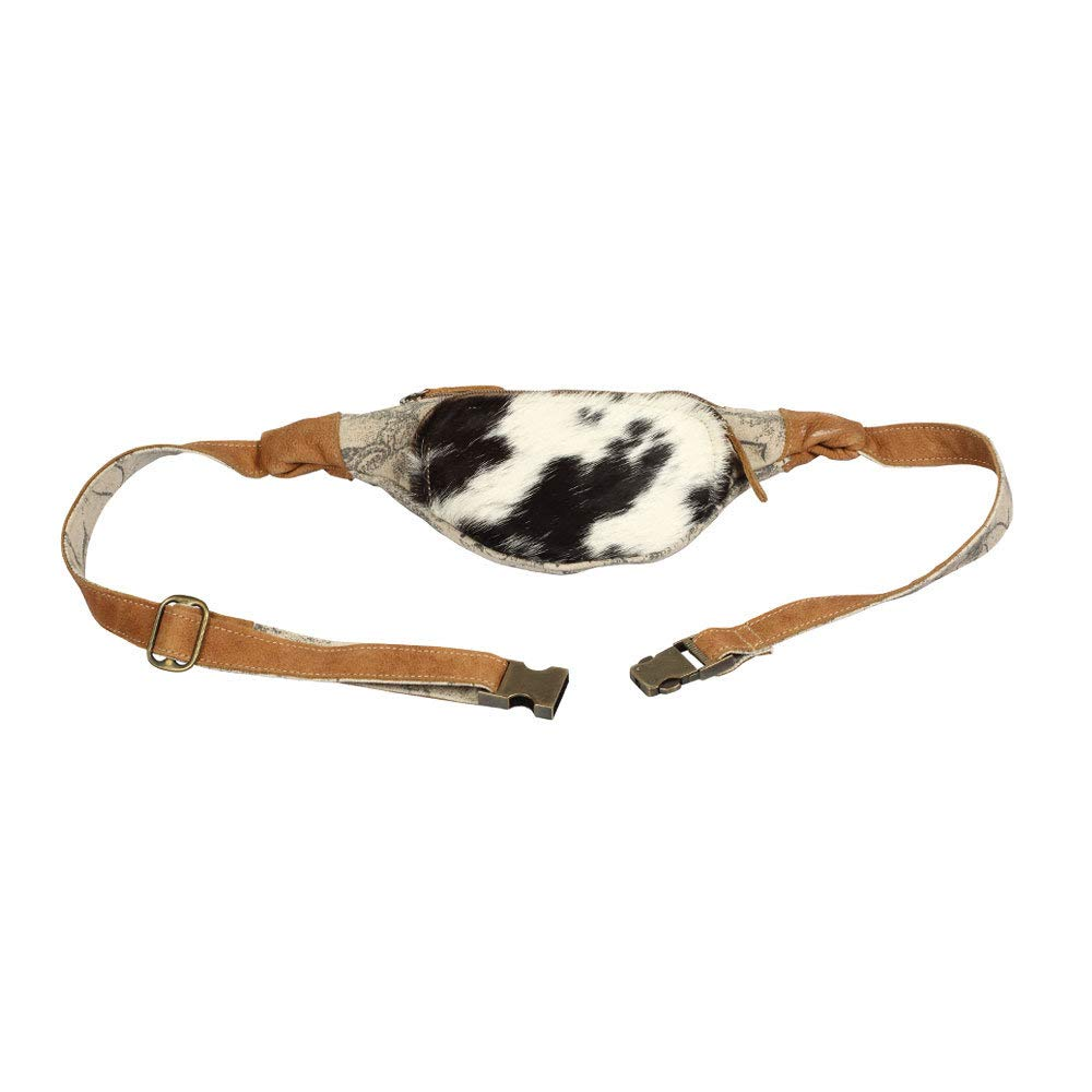 Myra Bag Impression Upcycled Canvas /& Cowhide Fanny Pack S-1393