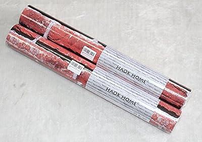 "HaokHome 453001 Vintage Faux Brick Wallpaper Roll Crimson/Off White 3D Brick Realist Paper Room Wall Decoration 20.8"" x 393.7"""