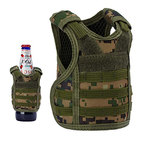 Lightbare Mini Tactical Vest Bottle Beer Vest Molle with Adjustable Straps, Beverage Holder for 12oz or 16oz Cans and Bottles, 7 Colors