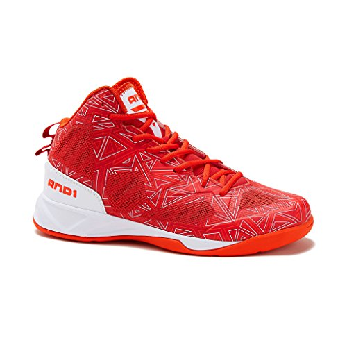 Image of the AND1 Mens Xcelerate 2 Basketball Shoe 11 Red/White/Orange