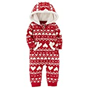 Carter's Baby Girls' One Piece Heart Print Fleece Jumpsuit 9 Months