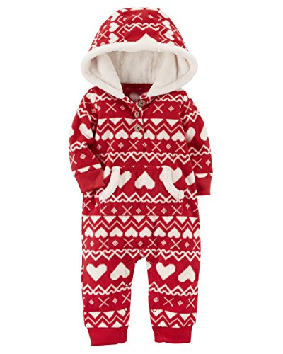 Carter's Baby Girls' One Piece Heart Print Fleece Jumpsuit, Red, 24 Months