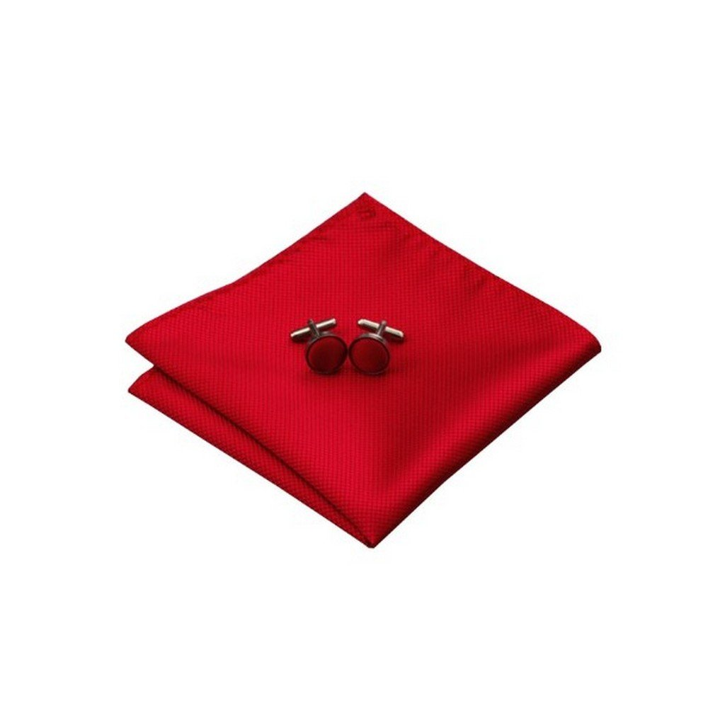 Mens Jacquard Woven Silk Solid Red Tie Hanky Cufflinks Sets