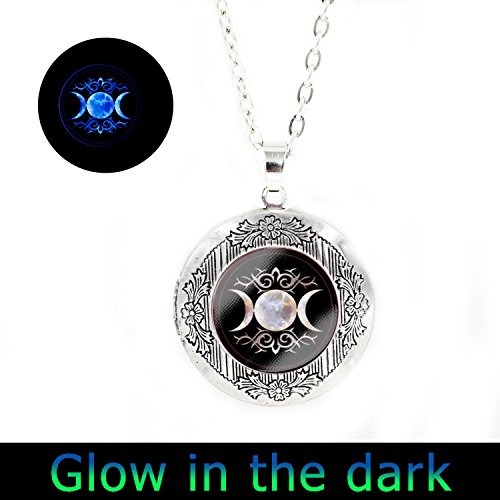 Glowlala@triple Goddess Glowing Locket Pendant, Wiccan Glowing Locket Jewelry, Moon Goddess Glowing Locket Jewelry, Wiccan Glowing Necklace - Goddess Locket