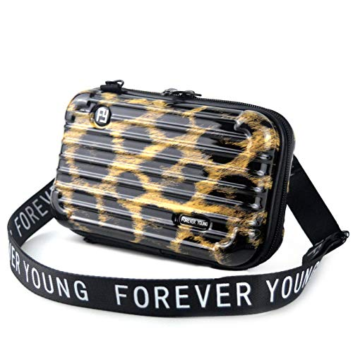 Mn&Sue Fashion Designer Mini Hard Suitcase Wristlet Crossbody Handbag for Women Storage Box Cosmetic Case (Leopard) ()