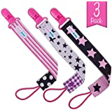 AlmaBaby Pacifier Clip Holders, Girls - Pink 3 Pack - You'll Never Lose a Pacifier...