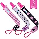 AlmaBaby Pacifier Clip Holders, Girls - Pink Stars 3 Pack - Universal Safety First Year Gumdrop Clip for Paci Pod, Soothie, Toys and Blankets, Baby Shower Gifts, No Sharp Edges, No Rust