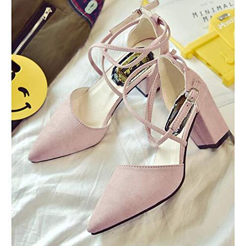 Negro Confort de Rosa Verano ZHZNVX Bomba Tacones Poliuretano Pink Grueso PU Mujer Zapatos de de básica Gris tacón wBnRFq6UR