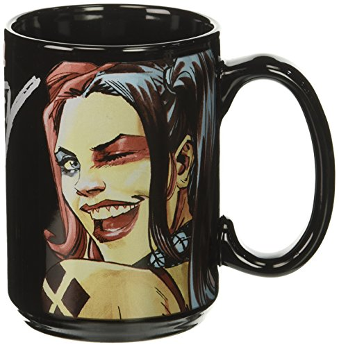 Zak Designs BTMF-8520 Batman Comics Harley Quinn Black Ceramic Mug, Large, Multicolor (Harley Sippy Cups)