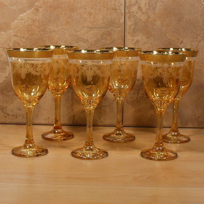 Lorenzo Import Goblets (Set of 6), Amber