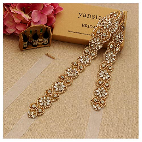 - Yanstar Handmade Gold Crystal Beads Rhinestone Bridal Wedding Belt Sash With White Organza For Bridal Wedding Party Gowns Dress