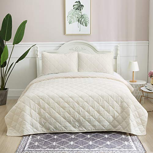 ALPHA HOME 2-Piece Diamond Quilt Set Bedspread Set, Twin Size Comforter Lightweight Bed Blanket, Ivory, Includes 1 Quilt, 1 Sham