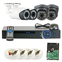 GW Security Inc VD4CHC3 4 Channel HDCVI DVR Security Camera System with 4 x 1/2.9 HDCVI Color IR CCTV 1.0 MP Security Camera