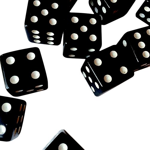 Adorox 16mm Opaque Black Dice (100 Pack)