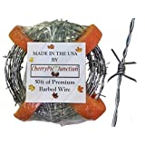 50 Feet Real Barbed Wire - Light Duty 18 gauge 4 pt MADE IN USA - Wire for Crafts
