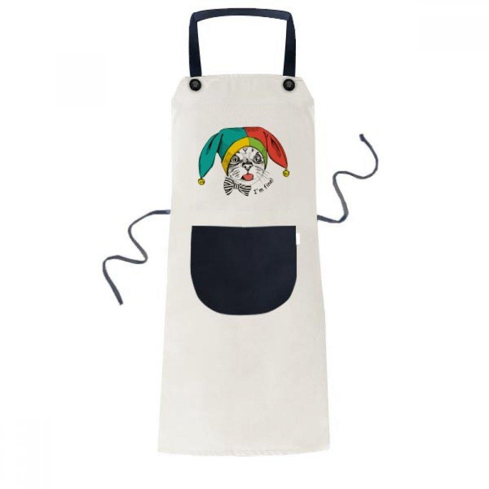 DIYthinker Foolscap I'm Fine Cat Protect Animal Apron Cooking Bib Black Kitchen Pocket Women Men