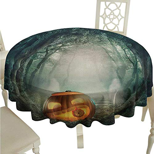Round Tablecloth Halloween,Drawing of Scary Halloween Pumpkin Enchanted Forest Mystic Twilight Party Art,Orange Teal D54,for Bistro Table]()