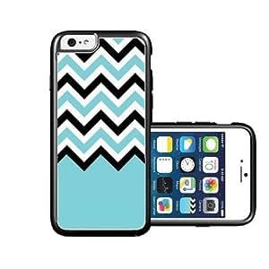 RCGrafix Brand Aqua-Black-White-Chevron iPhone 6 Case - Fits NEW Apple iPhone 6
