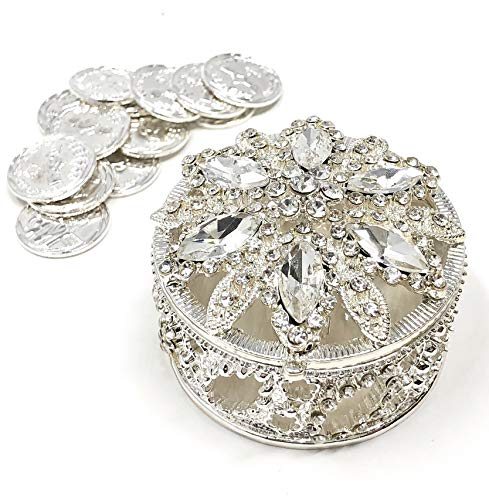 Coin Silver Shaped (CB Accessories Wedding Unity Coins - Arras de Boda - Round Shaped Box with Decorative Rhinestone Crystals (Silver))