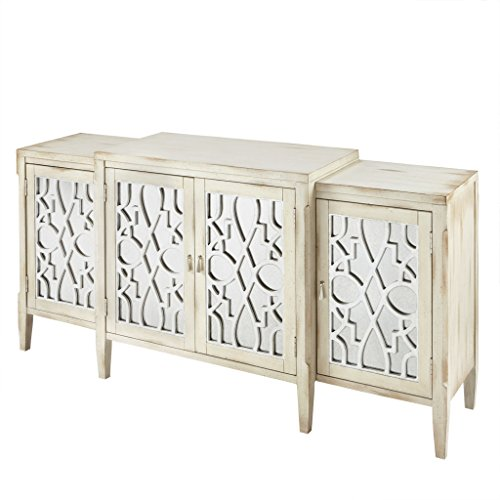 Madison Park MP133-0532 Folio Media Console Cabinet - Modern Antiqued, Leaf Design with Metal Hardware Buffet/Sideboard Accent Living Room Furniture, Cream