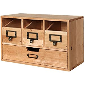 MyGift Rustic Brown Wood Desktop Office Organizer Drawers / Craft Supplies Storage Cabinet