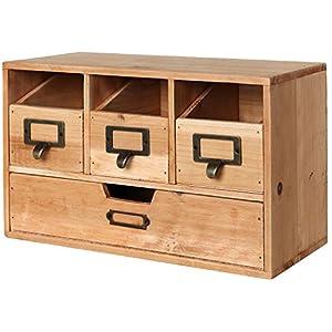 MyGift Rustic Brown Wood Desktop Office Organizer Drawers / Craft Supplies Storage Cabinet