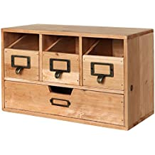 Rustic Brown Wood Desktop Office Organizer Drawers / Craft Supplies Storage Cabinet - MyGift