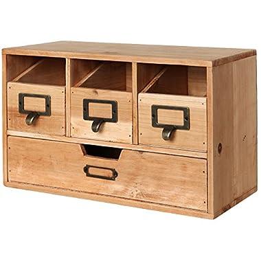 Rustic Brown Wood Desktop Office Organizer Drawers / Craft Supplies Storage Cabinet - MyGift®