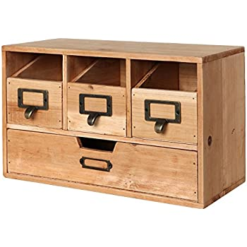 craft storage cabinets amazoncom rustic brown wood desktop office organizer drawers