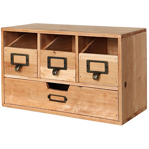 Rustic Brown Wood Desktop Office Organizer Drawers / Craft Supplies Storage Cabinet - MyGift