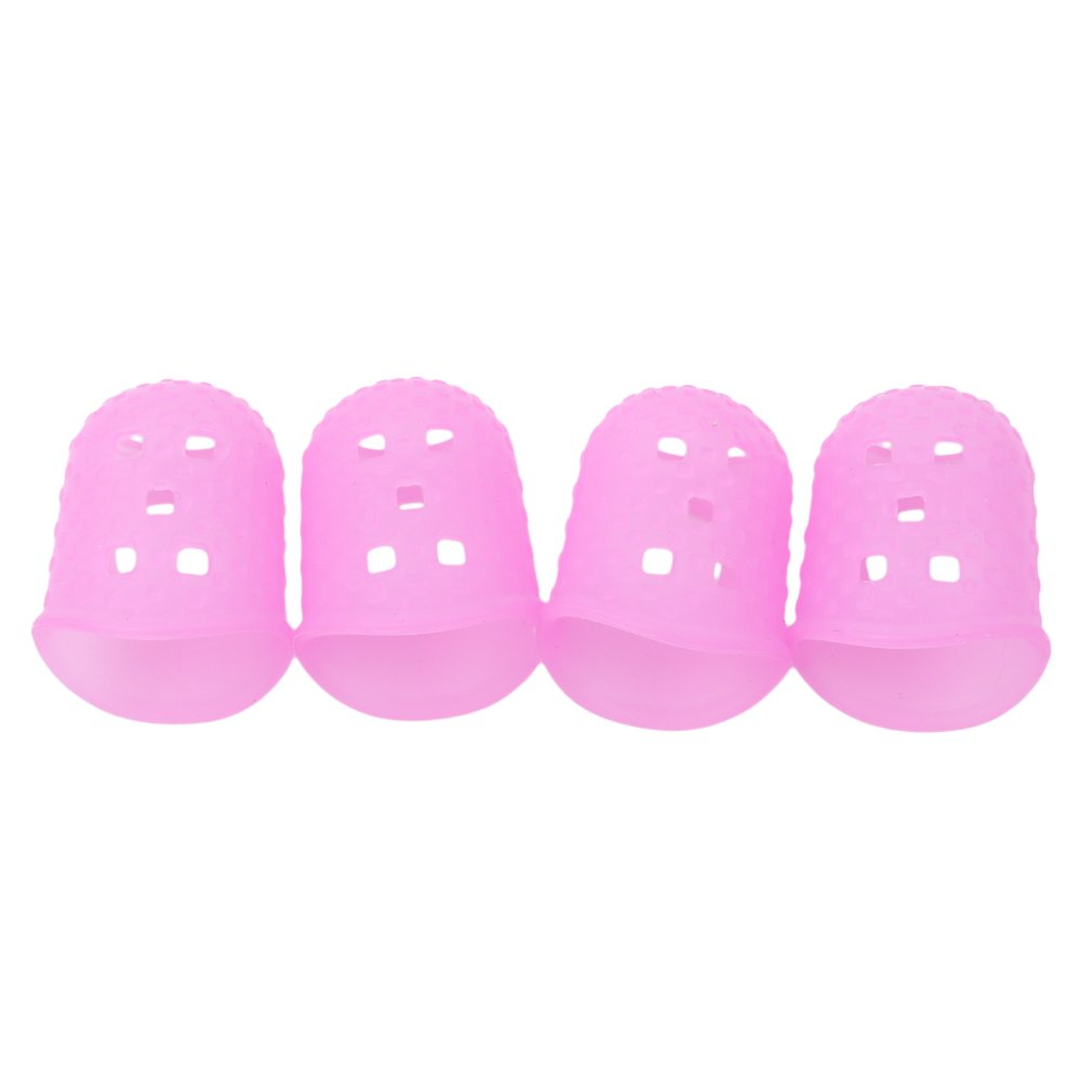 GUAngqi Large Medium Small Size Guitar Fingertip Protectors Silicone Finger Guards for Ukulele Electric Guitar,4#,As description