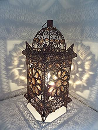 Exclusive Moroccan Style Vintage Jeweled Cutwork Flower Table Lamp   43 X  20 Centimeters Inspired Styles