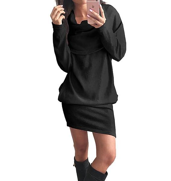 Zhiyuanan Donna Maglia Vestiti Collo alto Casual Eleganti Vestito In Maglia  Sciolto Manica Lunga Maglioni Abiti Nero 2XL  Amazon.it  Abbigliamento 69ad10e975b