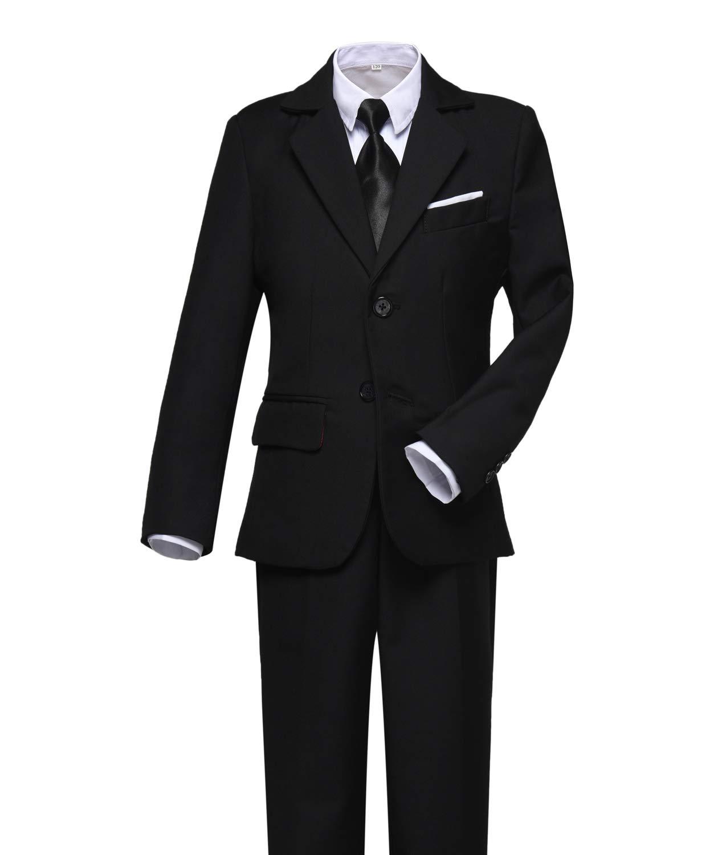 Visaccy Kids Suits for Boy Slim Fit Formal Wear Black Boys Suit Size 8
