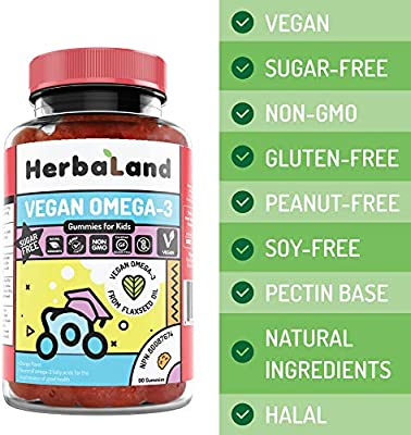Amazon Com Vegan Omega 3 Supplement For Kids By Herbaland Plant Based Sugar Free Vitamin Gummies Source Of Ala Omega 3 Fatty Acids From Flaxseed Oil Orange Flavor 90 Gummies Health Personal Care