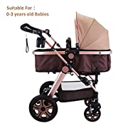 Superland Foldable Newborn Baby Luxury Stroller Buggy Pram Pushchair Carriage Infant Travel Car Anti-Shock Carriage Infant Travel Car Large Capacity Basket (0-3 Years Golden)