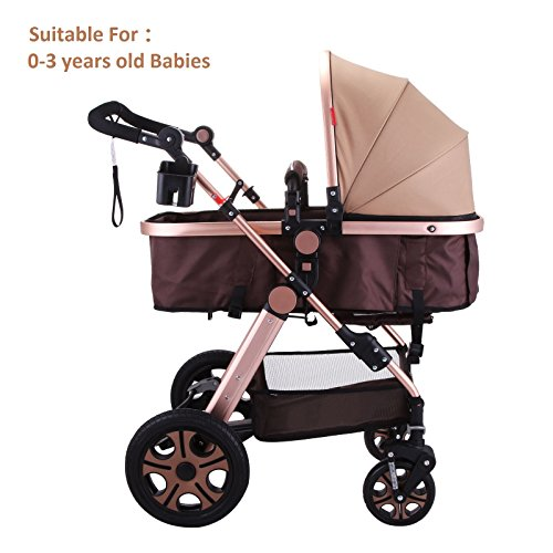 Superland Foldable Newborn Baby Luxury Stroller Buggy Pram Pushchair Carriage Infant Travel Car Anti-Shock Carriage Infant Travel Car Large Capacity Basket (0-3 Years Golden) by Superland OrangeA