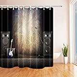 ChuaMi Polyester Fabric 69 x 70 Inches Shower Curtain Mildew Resistant Waterproof Bathroom Decoration Curtains with Hooks (Music Stage Equipment, Electric Guitar Stereo Microphone)