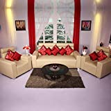 10 Pc Micro Satin Red Roses Designed Cushions For Sofa & Diwan Set By Cortina