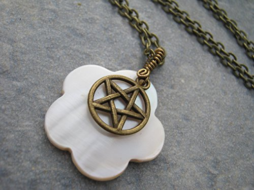 Pentacle Mother of Pearl Necklace, Wire Wrapped Shell Pendant, Antiqued BRONZE, Handmade Beach Necklace