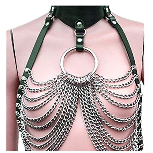 XINXINYU Women's Faux Leather Harness Chain Underwear Punk Gothic Metal Chain Tassel Body Caged Lock Chain