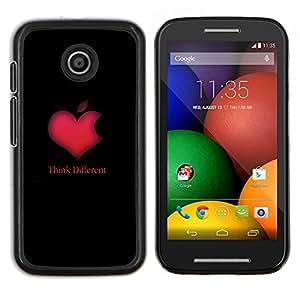 LECELL--Funda protectora / Cubierta / Piel For Motorola Moto E -- PIENSE DIFERENTE CORAZÓN DE APPLE --