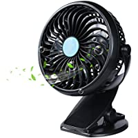 GS.Lee Mini Clip on Fan, Powered by USB or 2000mAh Rechargeable Battery, 360 Adjustable Wind, Personal Clip or Desk Fan, Multi Versatile for Office, Car, Baby Stroller and Outdoor, Blue